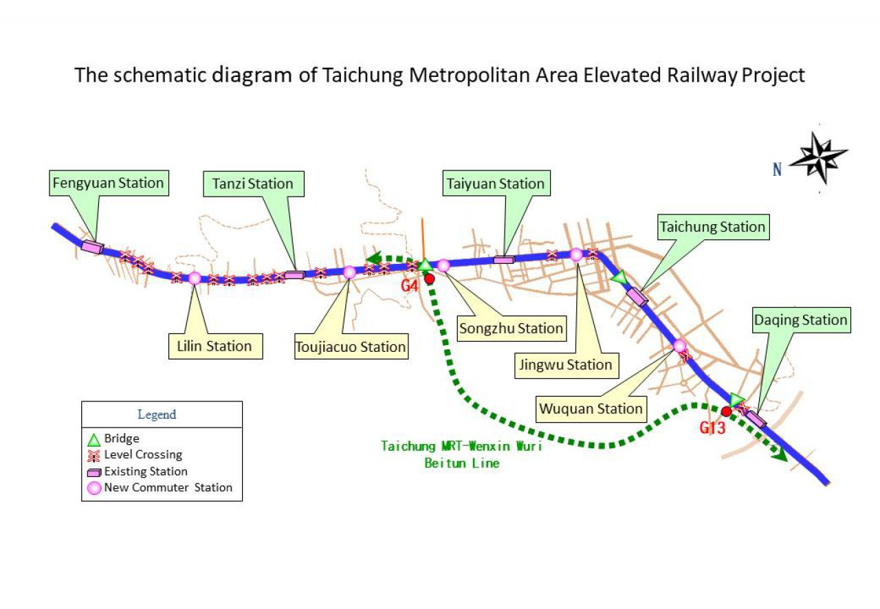 The schematic diagram of Tainan Metropolitan Area Elevated Railway Project