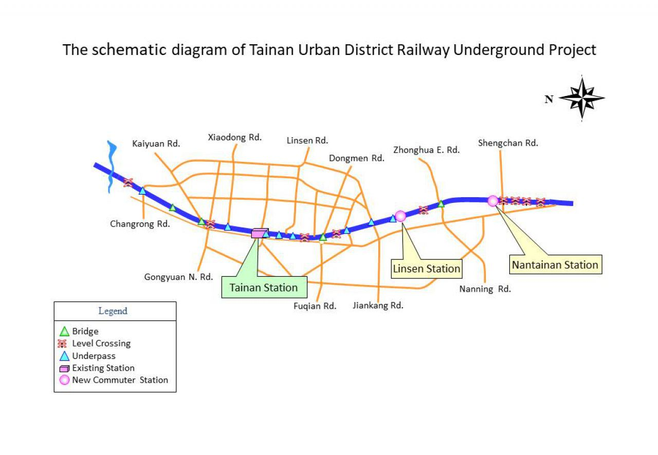 The schematic diagram of Tainan Urban District Railway Underground Project